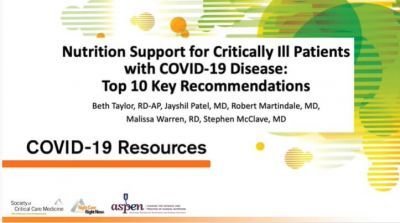 Nutrition Support for Critically Ill Patients with COVID-19 Disease: Top 10 Key Recommendations