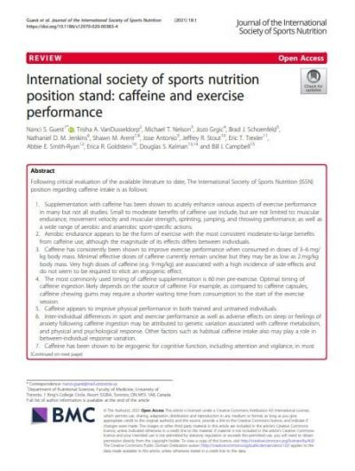 International society of sports nutrition position stand: caffeine and exercise performance