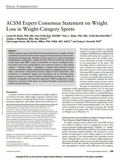 ACSM Expert Consensus Statement on Weight Loss in Weight-Category Sports