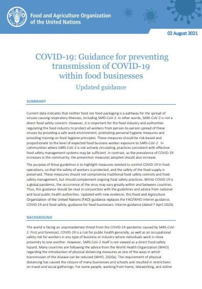 COVID-19: Guidance for preventing transmission of COVID-19 within food businesses Updated guidance