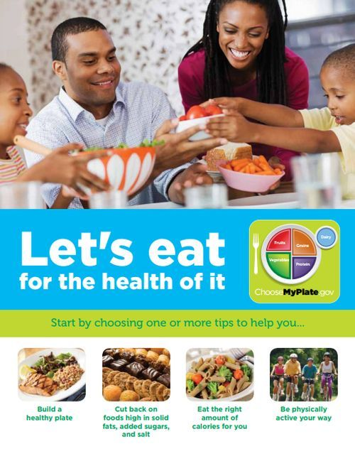"""Folleto: """"Let´s eat for the health of it"""""""