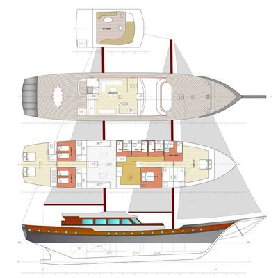 Yacht Charter DOUBLE EAGLE Layout