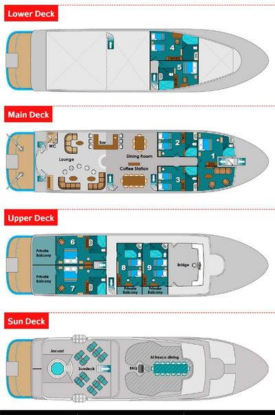 Yacht Charter Natural Paradise Layout