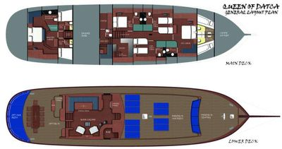 Yacht Charter Queen of Datca Layout