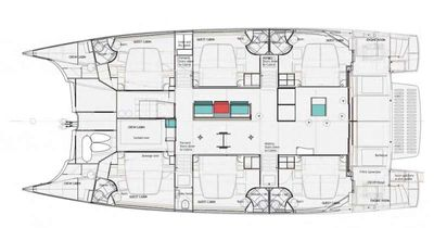 Yacht Charter VOYAGE 650 Power Cat Layout