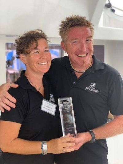 Biff and Amy -  The annual CYS Share Our World Award 2018 was presented to Captain Biff & Amy for their efforts helping the territory recover from last years devastating hurricanes