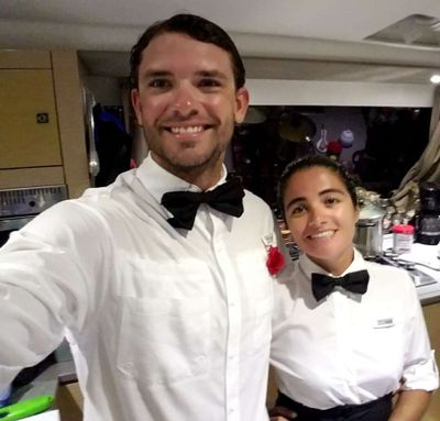 Denise and Taylor - Dress-up night aboard!