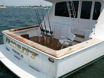 PRIORITY Yacht Charter - Cockpit with Fishing Rods
