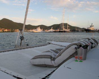 MIMBAW Yacht Charter - Lounging on the trampoline- a great view and a great glass of wine.