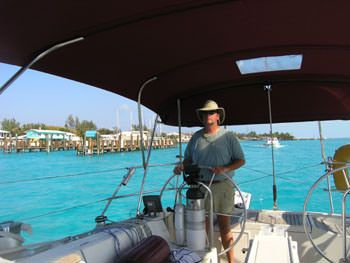 ZEPHYRUS Yacht Charter - Capt. Tim at the helm