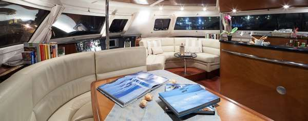 WHALE Yacht Charter - Saloon - indoor dining table