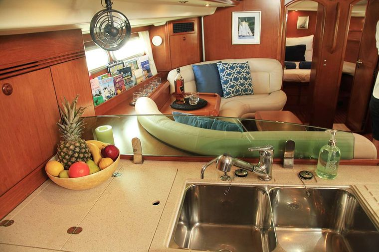 SAYANG Yacht Charter - Main settee in the saloon