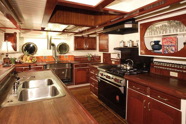 PACIFIC YELLOWFIN Yacht Charter - Country Kitchen, part of Main Salon