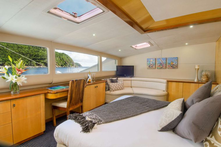 ZINGARA Yacht Charter - Master suite with settee