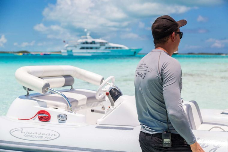 LADY J Yacht Charter - Crew with tender