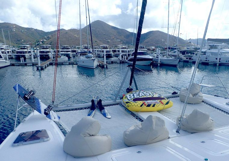 NUTMEG Yacht Charter - On the foredeck with beanbags