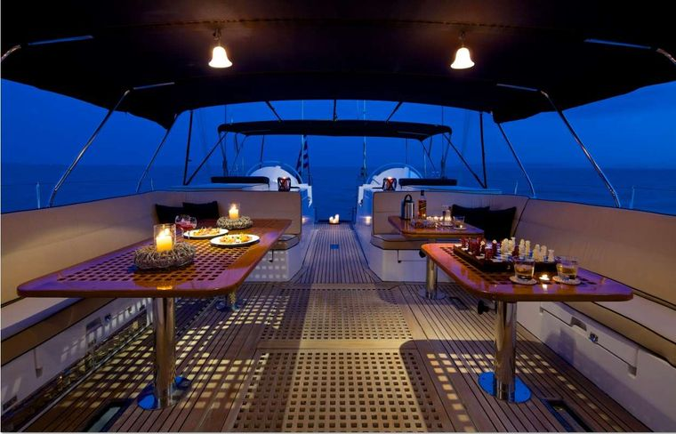AMADEUS Yacht Charter - Aft sitting are night view