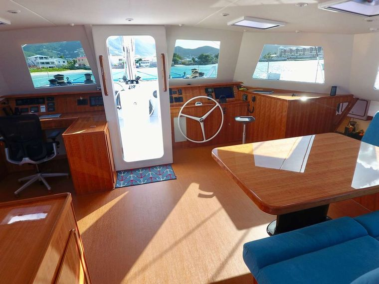 SKYLARK Yacht Charter - Saloon and interior helm station