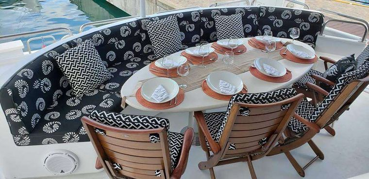 LADY SHARON GALE Yacht Charter - Breezy aft deck dining.