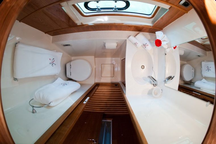 ELYSIUM Yacht Charter - Sink, head area.  The showers are seperate