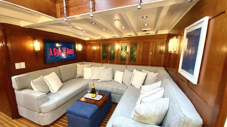 EROS Yacht Charter - Updated salon with new couch