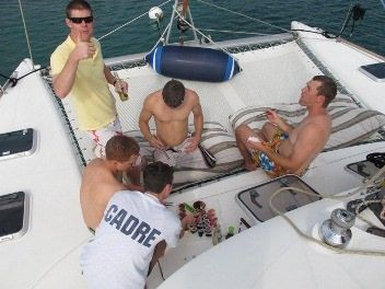 MIMBAW Yacht Charter - The chef turns your catch into sushi on the trampoline.