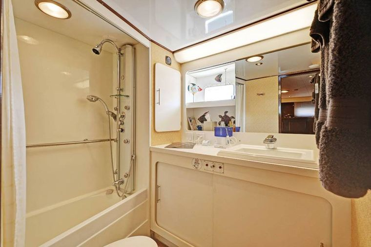 NORTHERN LIGHT Yacht Charter - Ensuite Master Bathroom with shower and small bath tub.