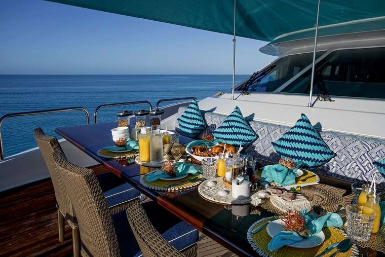 SWEET ESCAPE Yacht Charter - Bow Dining with Shade