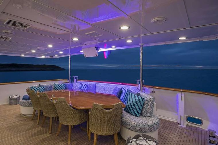 SWEET ESCAPE Yacht Charter - Aft Deck dining, covered