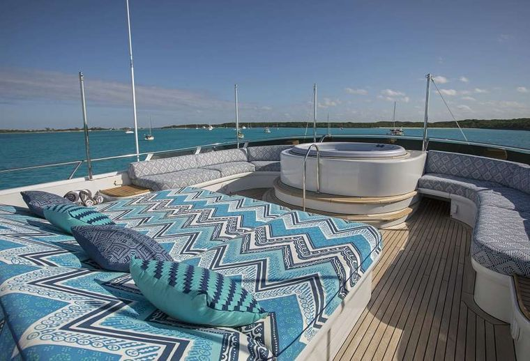 SWEET ESCAPE Yacht Charter - Sun Deck with Jacuzzi and optional sun shades