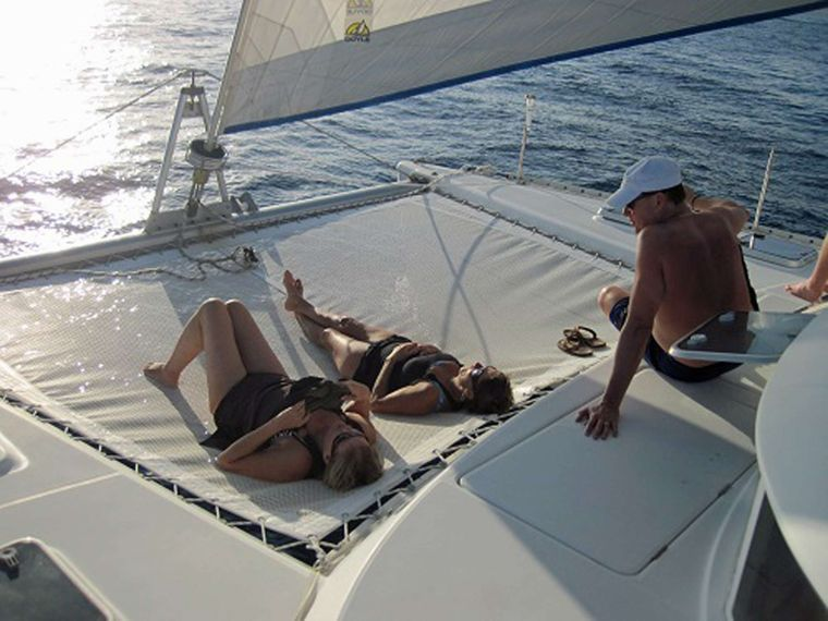 GUIDING LIGHT Yacht Charter - Chillin' on the Trampoline