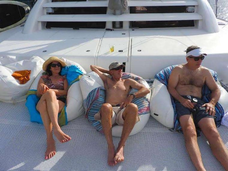 EXTASEA 2 Yacht Charter - Bow riders enjoying the trampolines