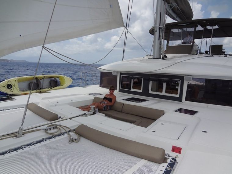 COPPER PENNY Yacht Charter - lounging on Foredeck