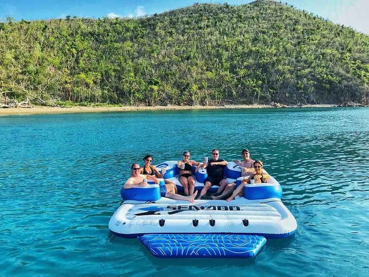 ODYSSEA Yacht Charter - Relaxing on the Floating Island