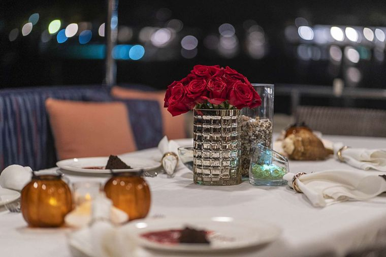 LEGACY Yacht Charter - Aft Deck Dining