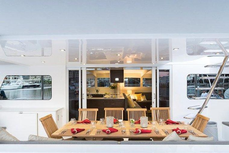 TRANQUILITY Yacht Charter - Stern cockpit dining area