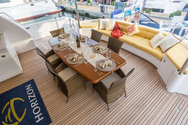 SEA BOSS Yacht Charter - Aft Deck and Dining Area