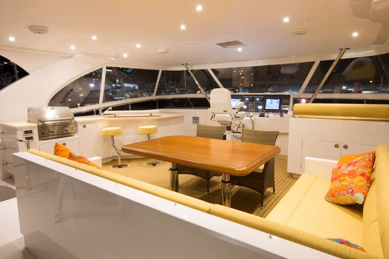 SEA BOSS Yacht Charter - Flybridge Bar, Lounger and Dining Area