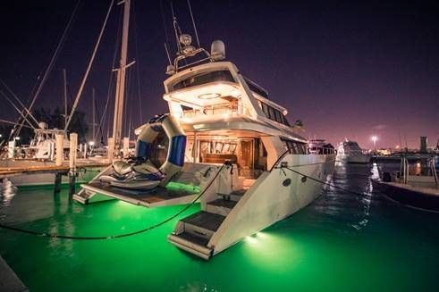 ATLANTIS II Yacht Charter - color changing underwater lights! Amazing for evening charters