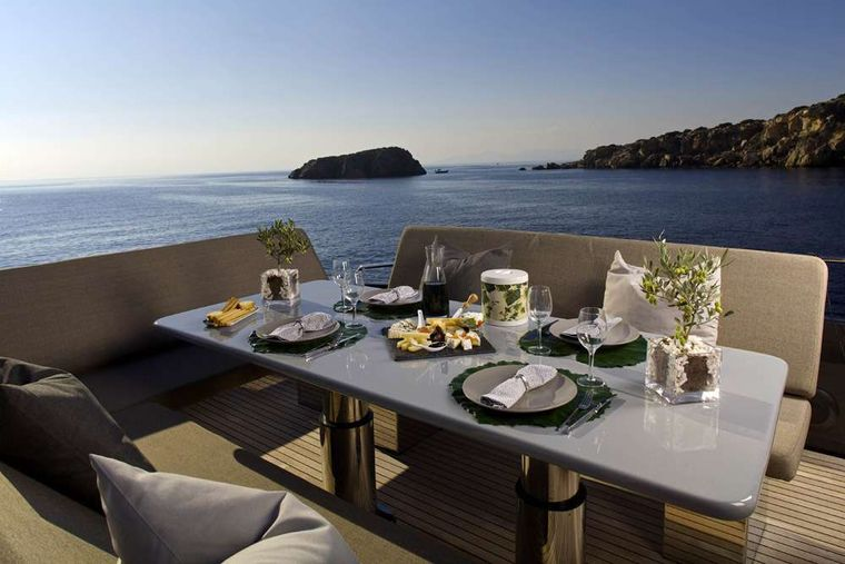 SOLARIS Yacht Charter - Fly dining table
