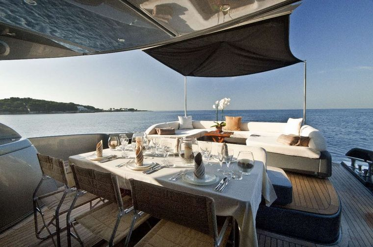 RHINO A Yacht Charter - Aft Deck Dining