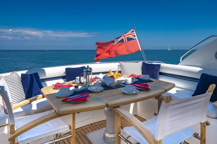 REHAB Yacht Charter - Aft Deck Dining