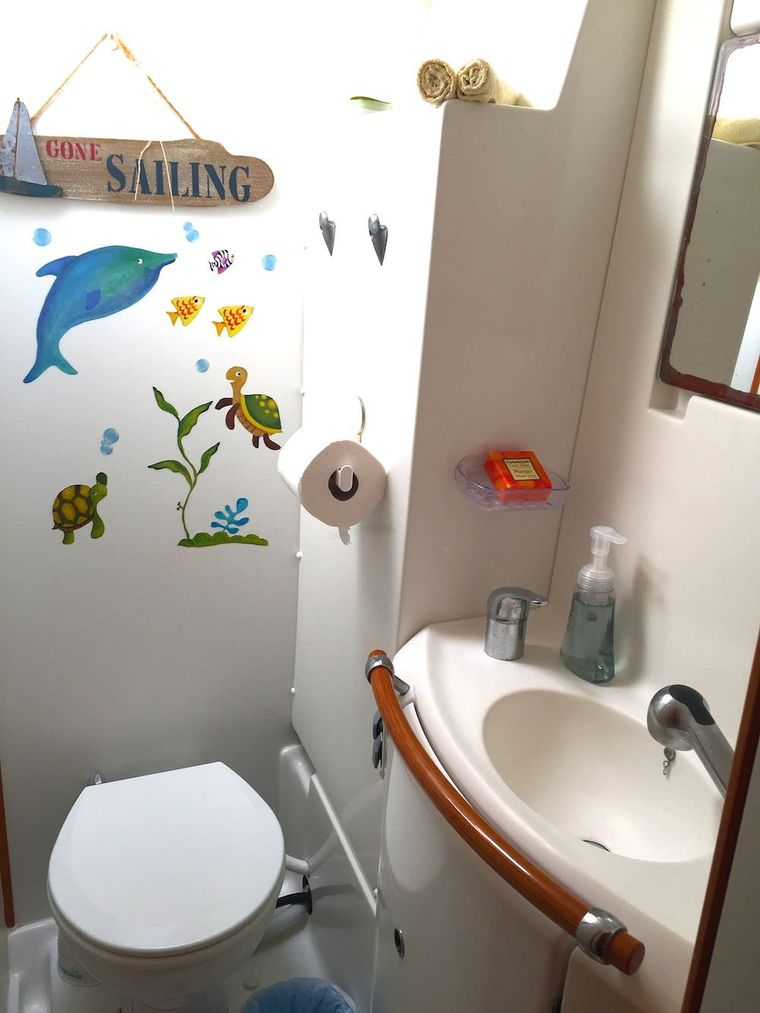 MANGO Yacht Charter - Heads feature electric toilets and walk in showers