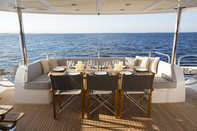 PLAY THE GAME Yacht Charter - Aft Deck Dining