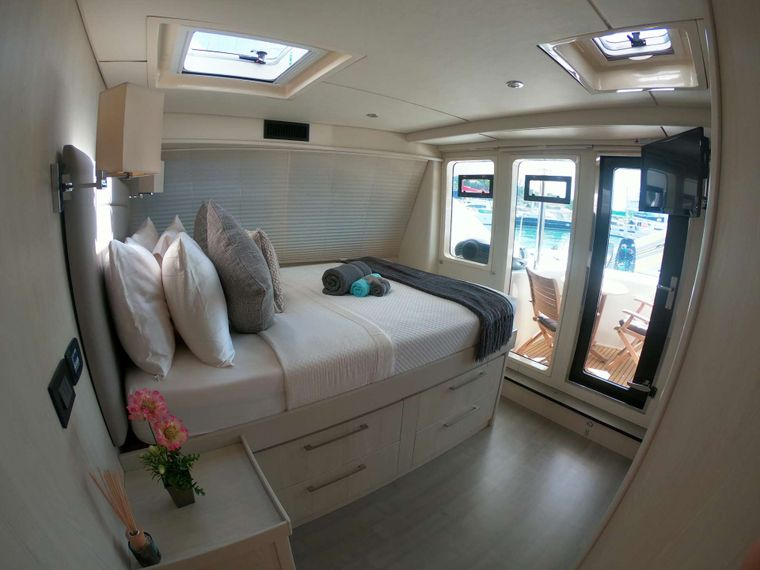 SOMETHING WONDERFUL Yacht Charter - Master Cabin View to Master Deck