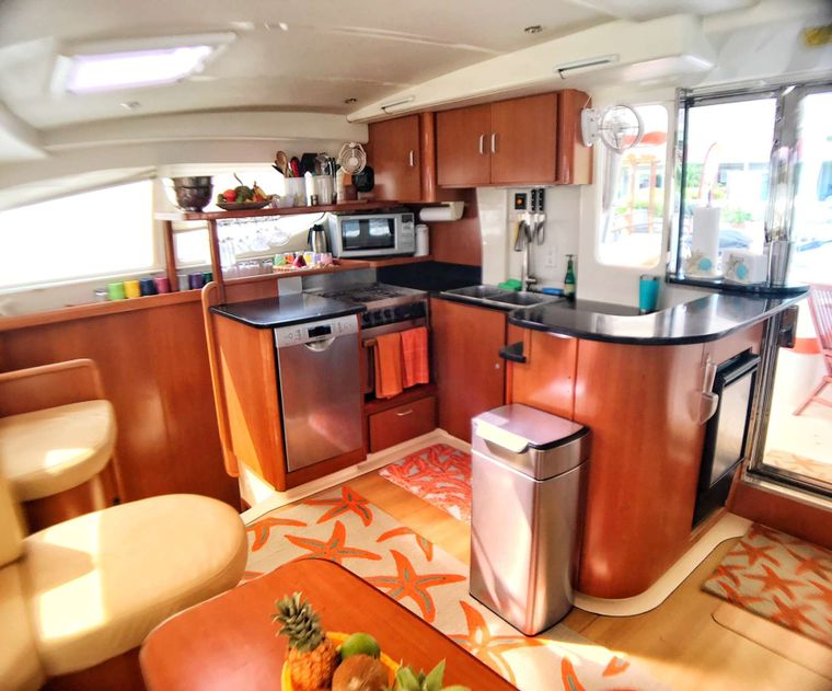 STARFISH Yacht Charter - The galley -- where you will usually find Jen!