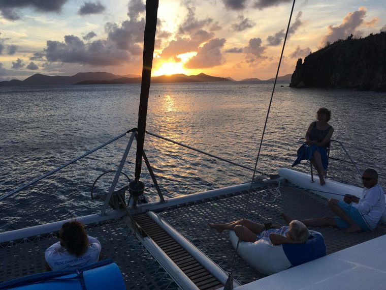 GENESIS II Yacht Charter - Sunset Happy Hour on the bow