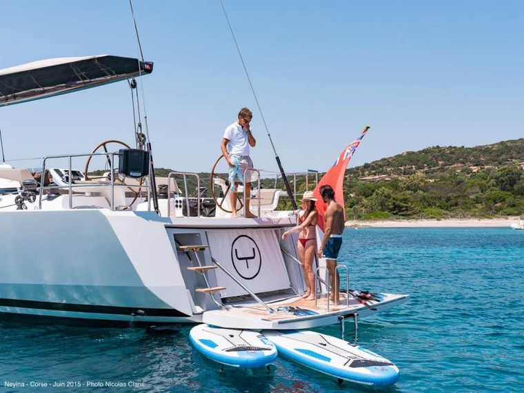 NEYINA Yacht Charter - Shower, water toys and swim platform