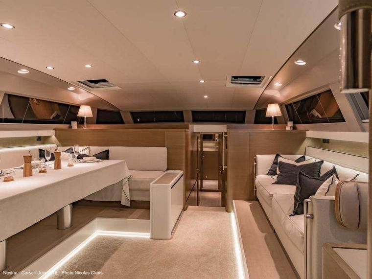 NEYINA Yacht Charter - Salon with  dining table set