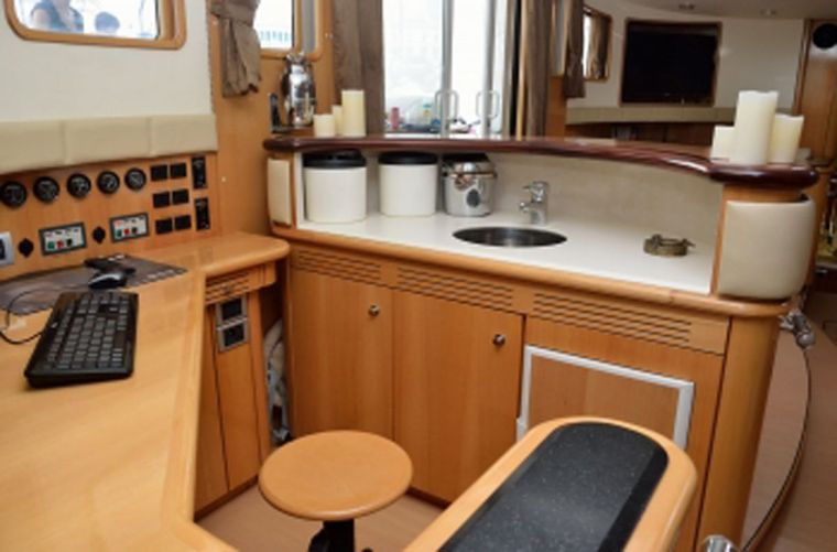 SAGITTARIUS Yacht Charter - Nav Station / Back of Wet Bar